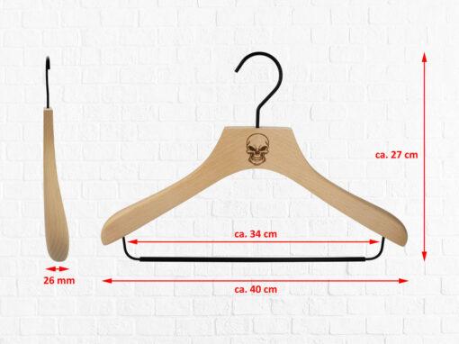 3 Stück Kombi-Kleiderbügel für Oberteile und Hosen aus Buchenholz mit Vintage Totenkopf Logo Abmessungen
